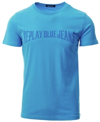 Replay Blue Branded Crew Tee