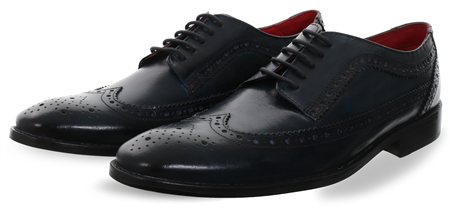 Base London Navy Durham Lace Up Brogue Shoe  - Click to view a larger image