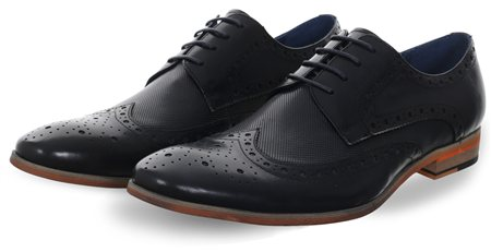 Paolo Vandini Navy Nateby Brogue Shoe  - Click to view a larger image
