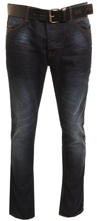Crosshatch Dark Denim Blue Wayne Straight Jeans  - Click to view a larger image