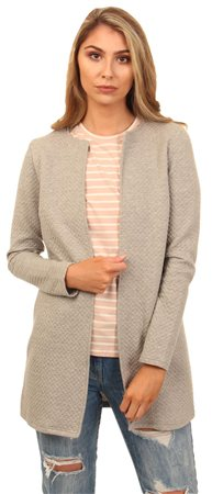 Vila Light Grey Long Sleeve Structure Coatigan  - Click to view a larger image