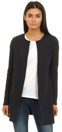 Vila Navy Long Sleeve Structure Coatigan  - Click to view a larger image