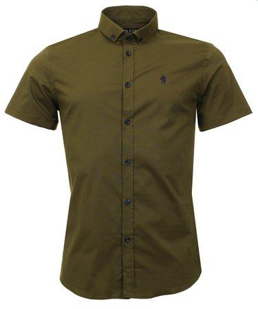 Alex & Turner Khaki Short Sleeve Shirt  - Click to view a larger image
