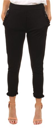 Missi Lond Black Fril Crop Trouser  - Click to view a larger image