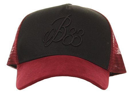 Bee Inspired Burgundy Suede Trucker Baseball Cap  - Click to view a larger image