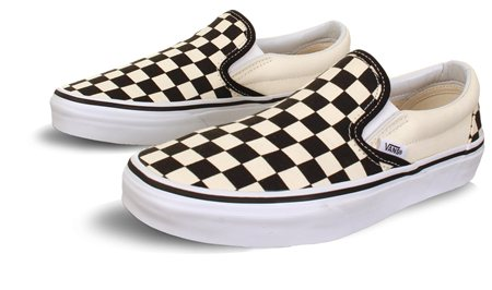 Vans Black/White (Womens) Checkerboard Classic Slip-On Shoes  - Click to view a larger image