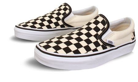White (Mens) Checkerboard Slip-On Shoes