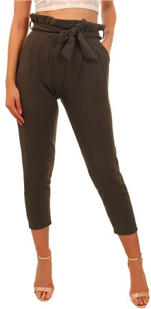 Missi Lond Khaki Frill Waist Trousers  - Click to view a larger image