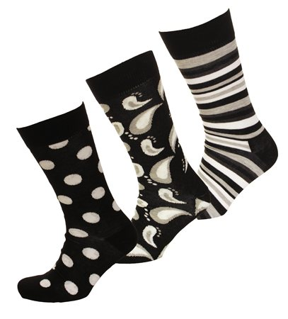Happysocks Black Triple Pack Pattern Socks  - Click to view a larger image