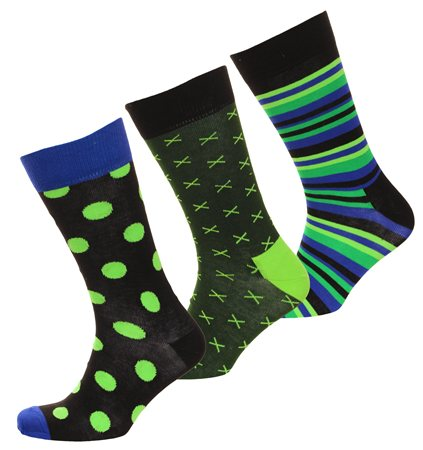 Happysocks Green Triple Pack Pattern Socks  - Click to view a larger image
