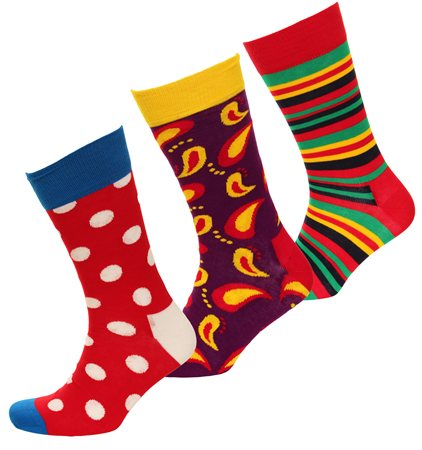 Happysocks Red Triple Pack Pattern Socks  - Click to view a larger image