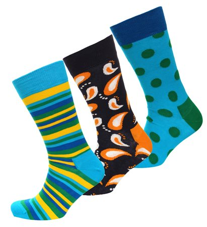 Happysocks Blue Triple Pack Pattern Socks  - Click to view a larger image