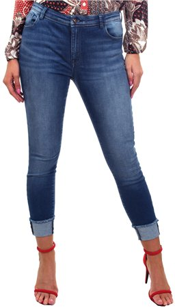 Only Denim Fold Hem Carmen Jean  - Click to view a larger image