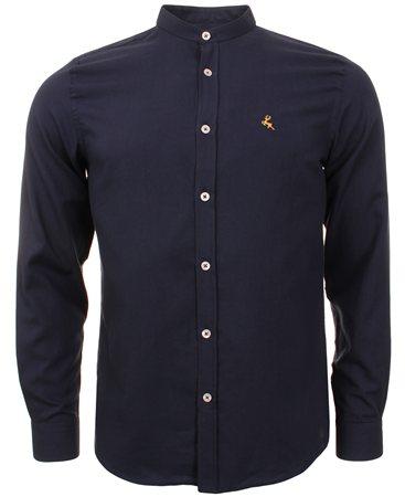 Ottomoda Navy Collarless Shirt  - Click to view a larger image