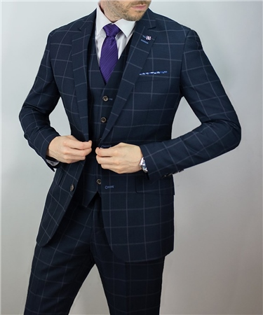 Kaymans Navy Macy Check Three Piece Suit  - Click to view a larger image