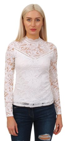 Vila White Long Sleeve Lace Top  - Click to view a larger image