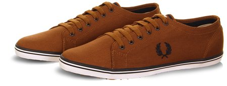 Fred Perry Brown Brown Kingston Twill Trainer  - Click to view a larger image