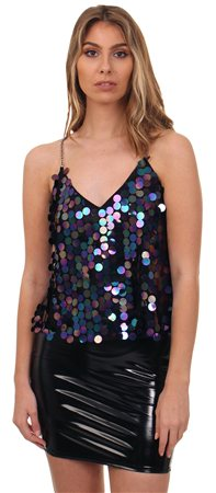 Missi Lond Black Sequin Cami Top  - Click to view a larger image