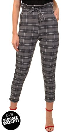 Missi Lond Black Check Trousers  - Click to view a larger image