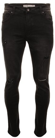 Crosshatch Black Torn Jean  - Click to view a larger image