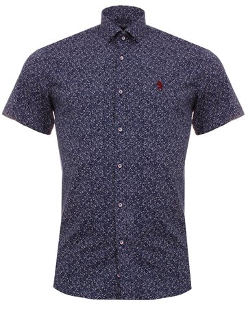 Alex & Turner Navy Pattern Shirt  - Click to view a larger image
