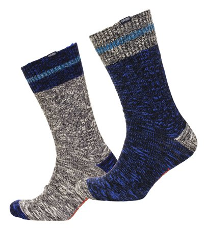 Superdry Navy Mix/Grey Mix Big Mountaineer Socks Double Pack  - Click to view a larger image