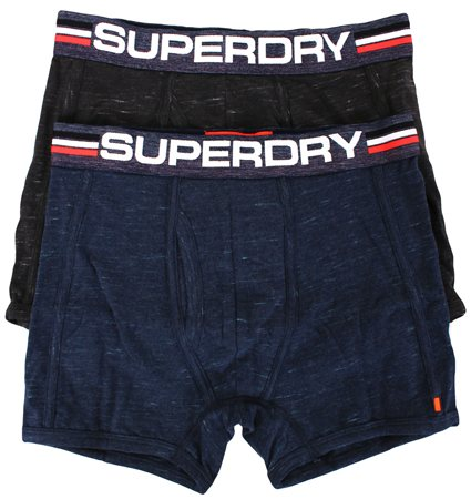 Superdry Darkest Navy/Black Grit Tipped Sport Boxer Double Pack  - Click to view a larger image