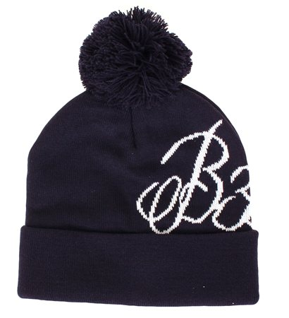 Bee Inspired Navy Bobble Beanie Hat  - Click to view a larger image