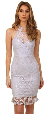 Lipsy Silver Embroidered Dress  - Click to view a larger image