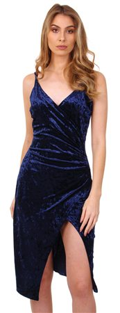 Cutie London Navy Velour Wrap Dress  - Click to view a larger image