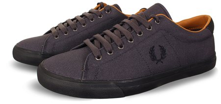 Fred Perry Navy Canvas Lace Up Trainers  - Click to view a larger image