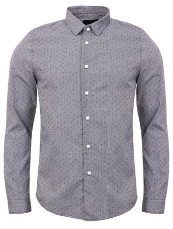 Threadbare Navy Tailored Pattern Shirt  - Click to view a larger image