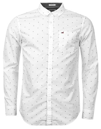 Hilfiger Denim White Long Sleeve Dobby Pattern Shuirt  - Click to view a larger image