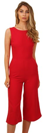 Wal/G Red Bow Culotte Jumpsuit  - Click to view a larger image