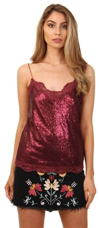 Vila Burgundy Sequin Cami Top  - Click to view a larger image