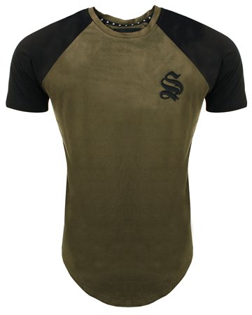 Sinners Attire Khaki/Black Suede Raglan Tee  - Click to view a larger image