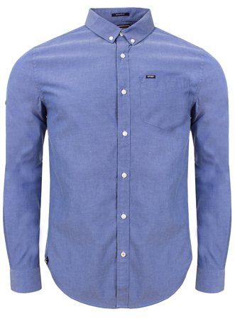 Superdry Blue Pinpoint Oxford Shirt  - Click to view a larger image
