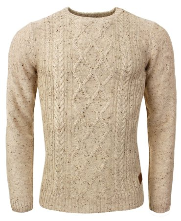 Threadbare Stone Cable Knit Jumper  - Click to view a larger image