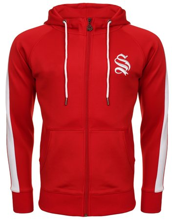 Sinners Attire Red Poly Track Top  - Click to view a larger image