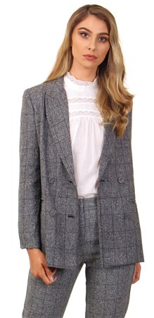 Parisian Grey Check Double Breasted Blazer  - Click to view a larger image