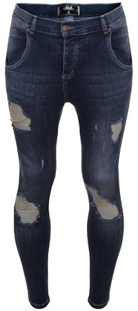 Siksilk Denim Midstone Frayed Distressed Skinny Jeans  - Click to view a larger image