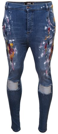 Siksilk Denim Paint Fight Retreat Dropcrotch Skinny Jeans  - Click to view a larger image