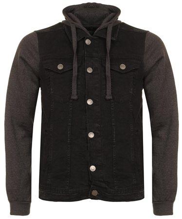 Brave Soul Black Denim Jersey Hudson Jacket  - Click to view a larger image