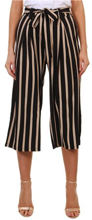 Missi Lond Black Stripe High Waist Trouser  - Click to view a larger image