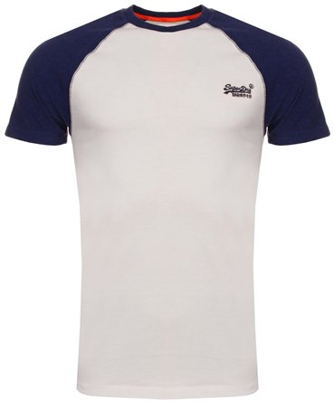 Superdry Optic White & Sonic Blast Blue Baseball Tee  - Click to view a larger image