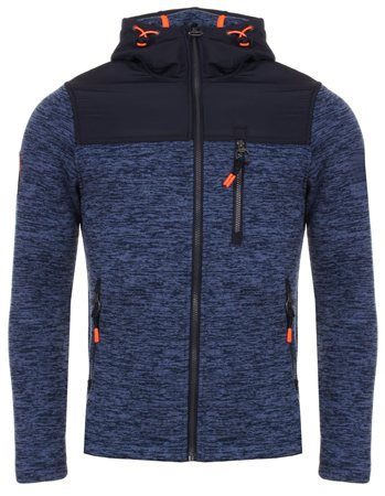 Superdry Denim Marl & Navy Mountain Zip Hood  - Click to view a larger image