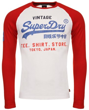 Superdry Stadium Red L/S Tshirt  - Click to view a larger image