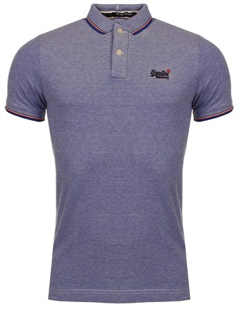Superdry Royal/White Poolside Pique Polo  - Click to view a larger image