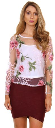 6b65a32e41 Qed White Lace Top - Click to view a larger image