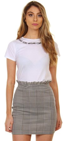 Missi Lond Black & White Check Skirt  - Click to view a larger image